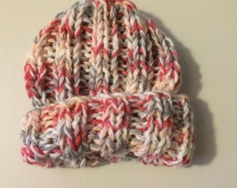 Ready to ship knitted chunky baby girl hat