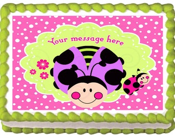 LADYBUG edible cake topper party image