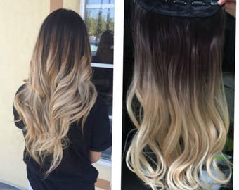 One Piece Dip dye Clip in Hair extensions Ombre Dark brown to sandy blonde