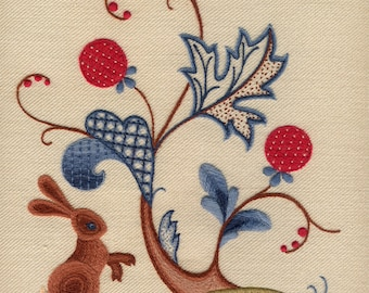 Crewel kit A Rabbit Summer, Crewel Embroidery Kit A Rabbit Summer, Rabbit Crewel Kit, Crewelwork Embroidery Kit A Rabbit Summer.