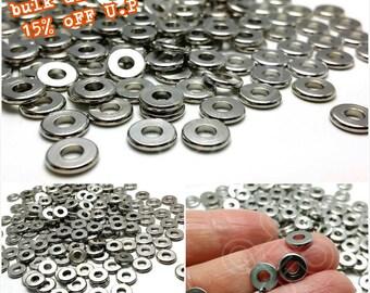 bulk -15% / W112RH / 300Pc / Diameter 7 mm - Rhodium Plated Washer / Spacer Beads
