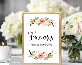 Favors Wedding Sign, Wedding Favors Sign, Favors Please Take One Sign, Printable Favors Sign, Printable Wedding Favors Sign Instant Download