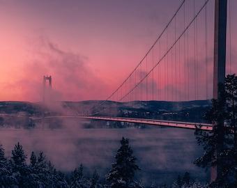 River Bridge Winter Fog Art Print Wall Decor Image Detail Colors - Unframed Poster