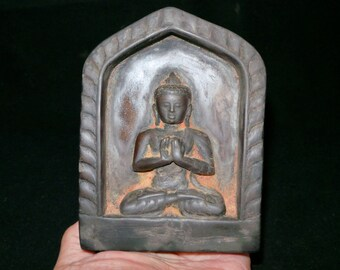 Old Nepal Tibet Carved Buddha Sakyamuni Stone Shrine