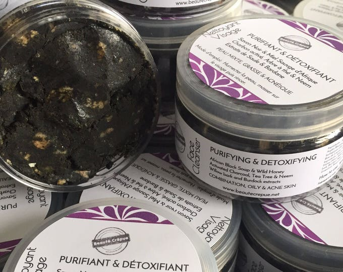 Purifying Detoxifying Facial Cleanser, Activated Charcoal, Tea Tree, African Black Soap, Neem, Willow - Combination Skin, Oily Skin,  Acne