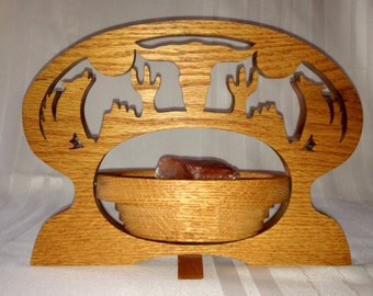 Western Carved Oak Bowl, Collapsible, with Texas Longhorn, Coyotes and Saguaro Cacti, Southwestern Decor