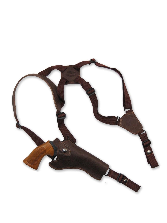 Nuevo Vertical de cuero marrón Cruz arnés pistola Sobaquera