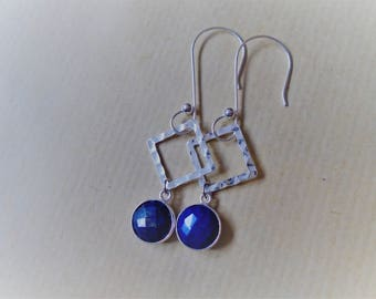 Lapis lazuli earrings and sterling silver / / round and square