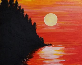 Sunset, Acrylic Painting, Stretched Canvas, 12x16