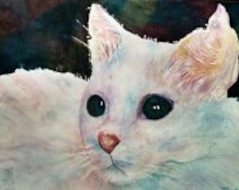 The Fluffy Cat-original watercolor