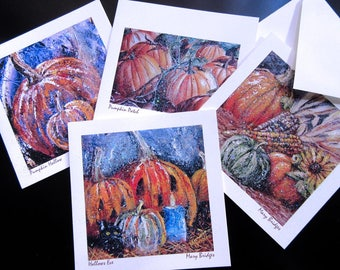 Halloween Cards - Set of 4 Blank Fine Art Greeting Cards + Envelopes