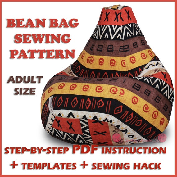 Adult Bean Bag Pattern Sewing Template Full Size Bean Bag