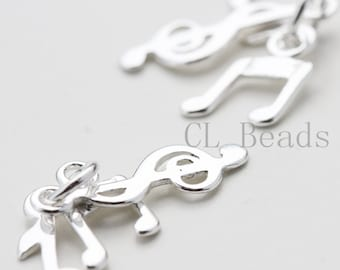 One Set (Three Music Notes) S925 Sterling Silver Charm  - 22x8mm