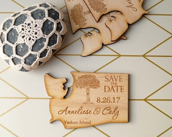 US state shaped save the dates, rustic wedding save the dates, personalized magnets, set of 25 pc.Wooden save the date magnets