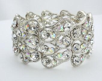 Teardrop Rhinestone and AB Crystal Bridal Stretch Bracelet, Wedding Bracelet, Brides Bracelet, Crystal Bracelet