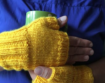 Yellow knitted fingerless gloves comfortable and warm