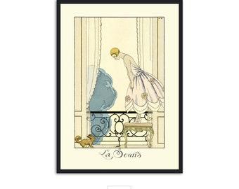 """Art Deco print vintage style fashion illustration, """"La Souris"""" by George Barbier, IL014."""