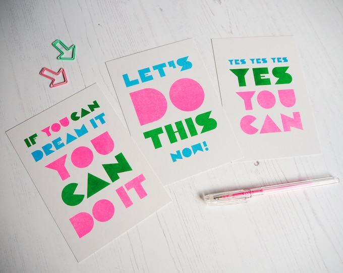 Motivational Print Set of 3 - Selection of Typographic Mini Prints of positivity - Risograph prints A6