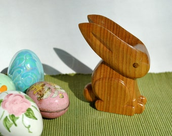 Vintage carved wood bunny, Easter bunny decoration 1990 signed and dated bunny rabbit