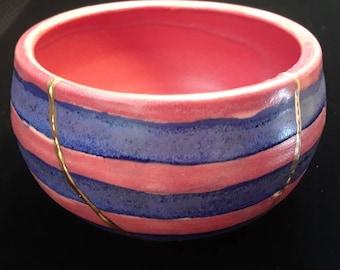 Kintsugi Kintsukuroi handmade blue and red striped bowl