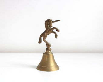 Brass Bell, Brass Unicorn Bell, Brass Unicorn, Brass Unicorn Figurine, Dinner Bell, Vintage Bell, Unicorn Figurine Gold Unicorn, Brass Decor