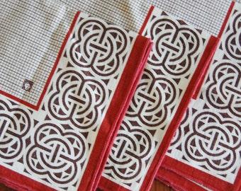 Vintage 1970s Anne Klein Napkin Set of Four Celtic Design Cotton Dining