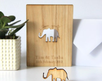 Personalised 5th Anniversary Card, 5th Anniversary Gift, Wood Anniversary Card, Wooden Anniversary Gift for Him, Elephant, I Love You