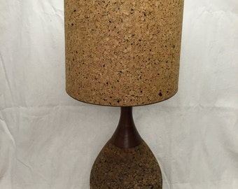 Cork lampshade etsy large cork teak table lamp retro mod mid century modern lampshade 70s aloadofball Images