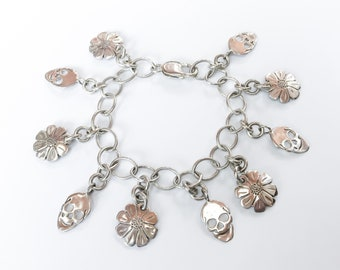 Skull & Daisy Loaded Charm Bracelet Made from Silver Vintage American Dime Coins