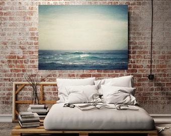 "Ocean Canvas Art, Ocean Wall Art, Canvas Print, Beach Wall Decor, Large Wall Art, Beach Decor, Living Room Decor, Blue Home Decor ""Cresting"""