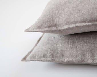 2 Natural linen pillow covers - bench pillows - mudroom pillows - decorative covers - throw pillows - linen euro shams  0023