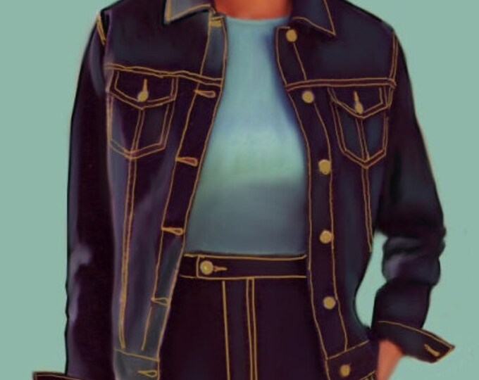 Jeans jacket for women, 4 patterns in 4 different sizes