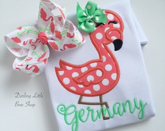 Flamingo bow -- Fancy Flamingo -- Large hairbow with optional headband -- coral and mint -- Darling Little Bow Shop
