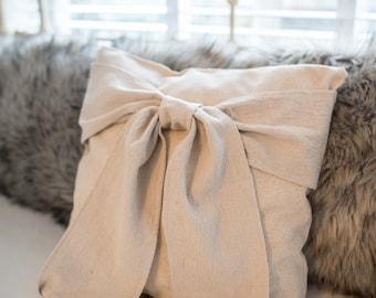 "Cream Bow Pillow -Decorative Pillow Cover - 16""x16"""