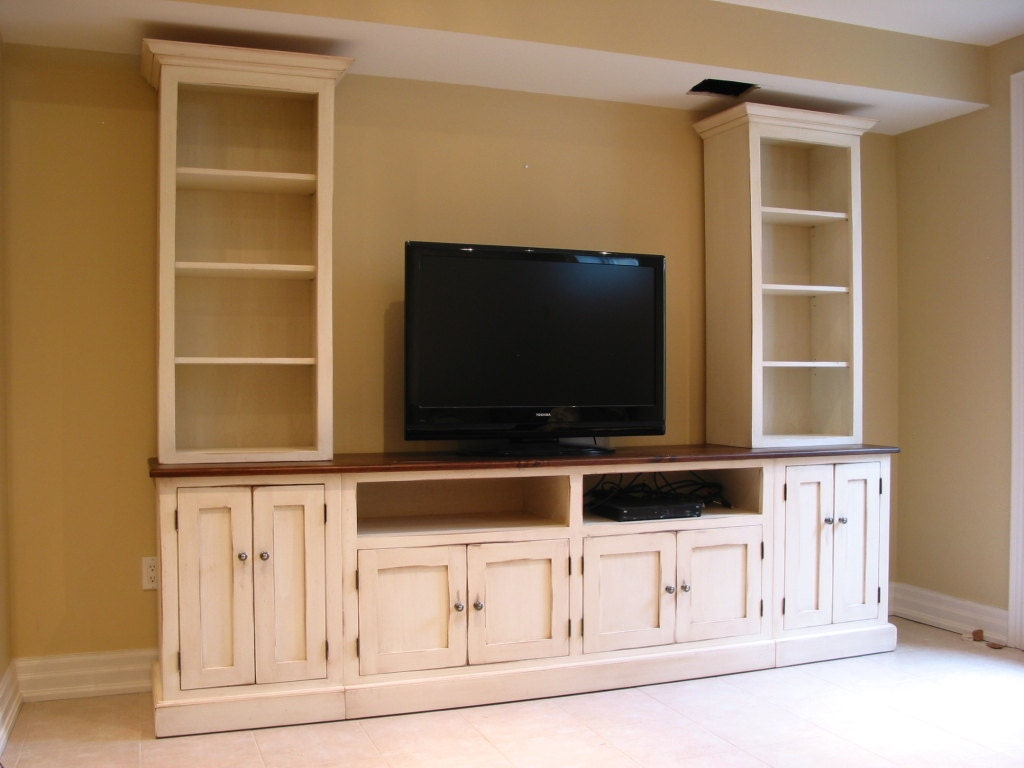 Wood Wall Units Tv Center  Wood Tv Wall Unit  Hand Painted Media Center