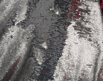 Mermaid Fish Scale Sequin Fabric by the Yard Reversible Sequin Fabric Flip  Up, Silver/Matte Silver. Sold by the yard