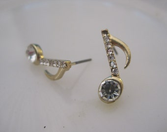 Gold Music Note Earrings - Stud Earrings - Rhinestone Single Music Note Earrings -  - Music Jewelry - Music