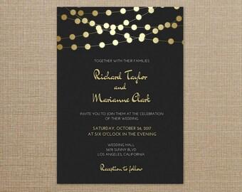 Wedding Invitation Black and Gold, Wedding Invitation Gold, Wedding Invitation Printable,Wedding Invitation Template