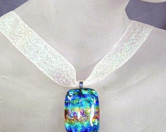Iridescent Rainbow Dichroic Glass Necklace ~ Ribbon Choker with Dichroic Glass Pendant ~ adjustable 14-16 inches