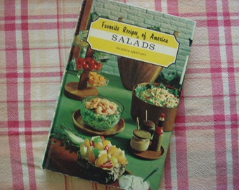 "Vintage 1966 Cookbook ""Favorite Recipes of America~Salads"", Hundreds of Types of Salads, Appetizer Recipes Included, Full Color Photographs~"