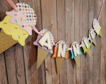 Ice Cream Birthday Banner, Ice Cream Cones, Ice Cream Decorations