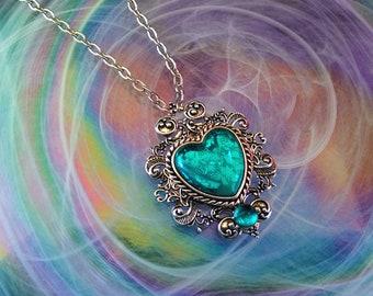 Victorian Necklace, Handmade Glass Opalite Teal Splotches, Filigree Fantasy Necklace, Renaissance Necklace, Heart Filigree Necklace