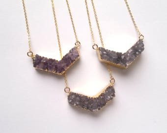 Amethyst Druzy Necklace Amethyst Druzy Chevron Necklace Gold Edged Amethyst Druzy Purple Druzy Jewelry Stone Necklace Chevron Jewelry Stone