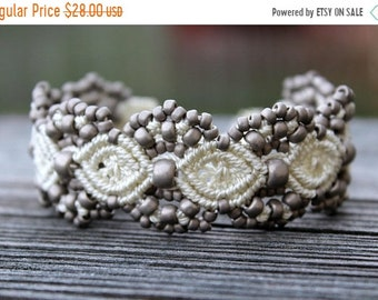 SALE Micro-Macrame Beaded Cuff Bracelet - Antique Silver Mix