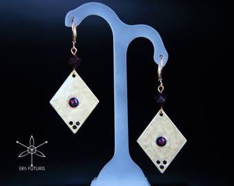 Red Garnet earrings, synthetic Opal earrings, rhomb earrings, square earrings, geometric earrings, brass earrings, gemstone earrings