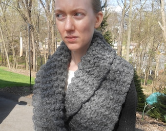 Gray wool Outlander inspired chunky knit cowl/wrap