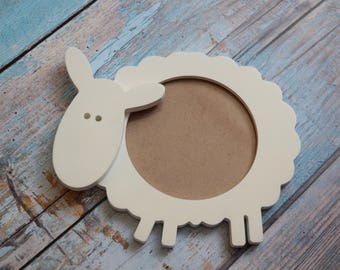 Personalized Baby Frame Newborn Gift Baby Photo Gift Baptism Frame Unique Picture  Wood wall Art First Birthday Present Gift Girl Boy Sheep