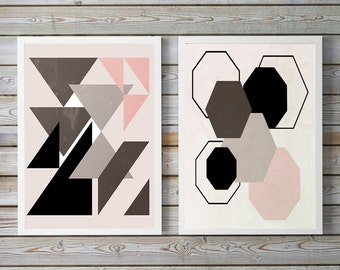 two prints, set of two, Geometric art, Abstract geometric art, , picture sets, set of 2, art set, set of 2 prints, Scandinavian art