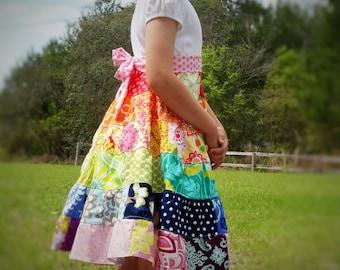 Girls Rainbow Dress Patchwork 6 tiered Twirl Dress 2 3 4 5 6 7 8 9 10 12 14 16