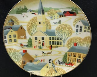 The Village Church by Betsey Bates from the World Book Christmas Plate Series 1984.  (CGP-8167)